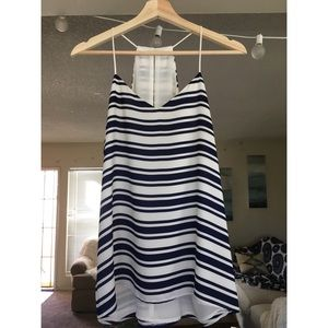 Blue and white striped Express tank